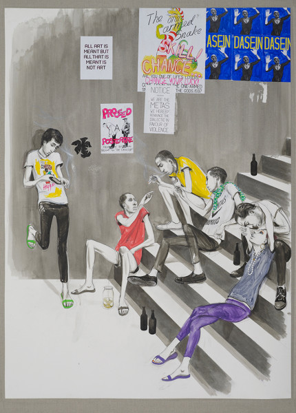 Charles Avery, Untitled (Youths Smoking on Steps), 2014
