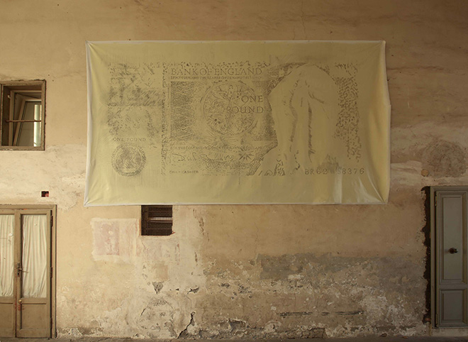 Flavio Favelli, One Pound, view of the exhibition at Studio SALES di Norberto Ruggeri, Roma, 26oct16